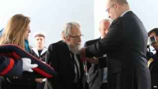 Michael d'Alton received the Legion d'Honneur on board the French navy ship Somme in Dublin Port