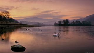 Wintry dusk over Rydal Water