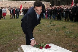 Alexis Tsipras lays wreath to murdered communists