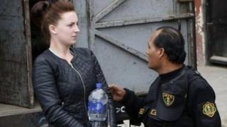 Michaella McCollum with prison escort