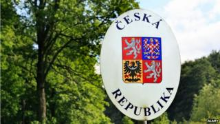 Czech Republic border sign