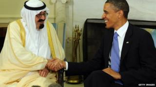 President Barack Obama shown with the king, Abdullah bin Abdul-Aziz Al Saud in 2010