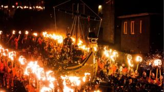 The procession leading to the burning site of the Viking long ship