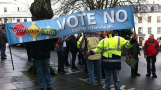 Protesters against introducing charges for motorists to fund the States of Guernsey Transport Strategy