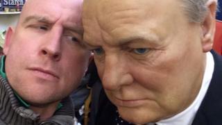 'Selfie' with wax figure of Sir Winston Churchill