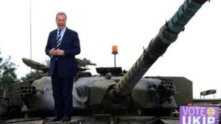 Nigel Farage on a tank
