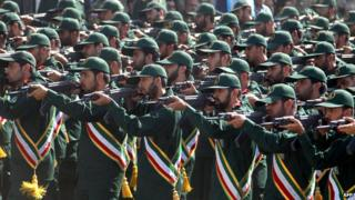 Iranian Revolutionary Guards at a military parade in Tehran (22 September 2013)