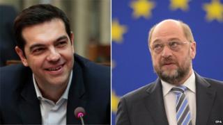 Alexis Tsipras (left) and Martin Schulz