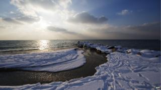A beach on the Danish island of Bornholm