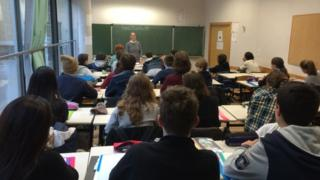 Gabrielle Derameaux in class at the the Lycee Buffon in central Paris
