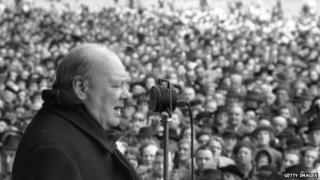 Winston Churchill pictured making an election speech in 1945