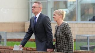 Sean Frayne arriving at Derby Crown Court with an unidentified woman