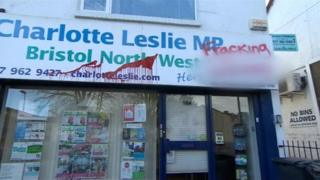 Charlotte Leslie MP's vandalised constituency office, Bristol
