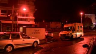 The shooting took place shortly before 20:00 GMT at Finn House flats in the New Lodge area