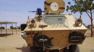 An armoured vehicle used by Boko Haram militants captured by the Nigerian military in Maiduguri (27 January 2015)