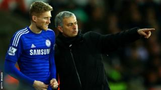 Andre Schurrle (left) and Chelsea manager Jose Mourinho
