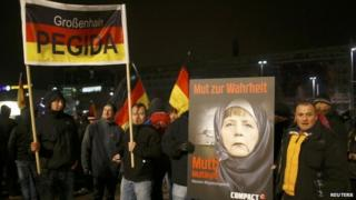 Members of the Leipzig arm of Pegida take part in a demonstration on 21 January 2015