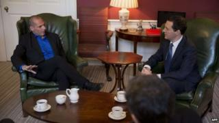 Greek Finance Minister Yanis Varoufakis meets with Britain's finance Minister George Osborne