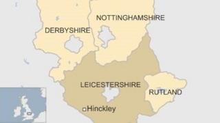 UK map showing Hinckley