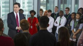 Ed Miliband answering questions from young people at an event organised by Sky News and Facebook