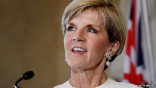 Australian Minister for Foreign Affairs, Julie Bishop addresses the media during a press conference for AUKMIN at Admiralty House on February 2, 2015 in Sydney, Australia.