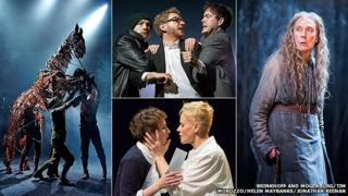 Clockwise from left: The National Theatre's War Horse; Citizens' Hamlet; The RSC's The Witch of Edmonton; The Royal Exchange's Hamlet