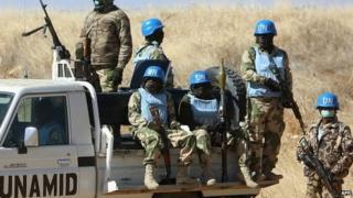 UN Mission in Darfur patrolling the troubled Sudan region. 12 January 2015