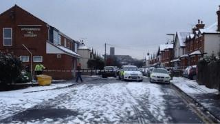 Police in Deerbarn Road, which is near the scene of the incident