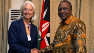 IMF Managing Director Christine Lagarde shaking hands with Kenyan president Uhuru Kenyatta. 4 January 2014