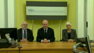 The HIA inquiry, chaired by Sir Anthony Hart (centre) is being held in Banbridge courthouse, County Down