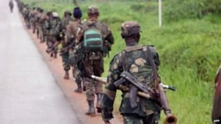 DR Congo soldiers marching in the east on 31 December 2013