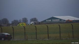 Emergency services at the scene of the accident at Manston Airport