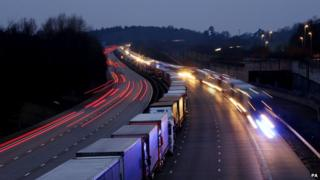 Operation Stack on the M20 near Maidstone in Kent
