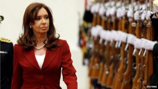Argentine President Cristina Fernandez de Kirchner inspects Chinese honour guards during a ceremony in Beijing, February 4, 2015.