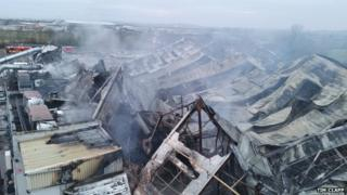 Fire damage at Dowty's in Staverton