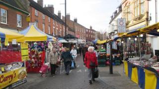 The street market in Market Street, Tamworth