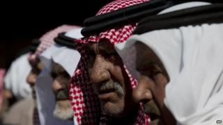 Tribe members of slain Jordanian pilot, Lt. Muath al-Kaseasbeh receive mourners at the memorial tent set up for the slain pilot at their home village of Ai near Karak, Jordan