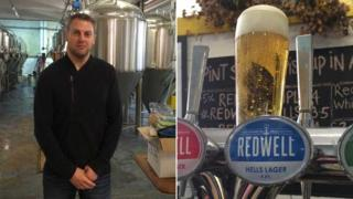 Patrick Fisher with Redwell Hells Lager