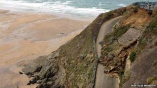 Great Western Beach road landslide