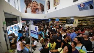 People queuing at the Farmatodo drugstore Caracas Feb 3 2015