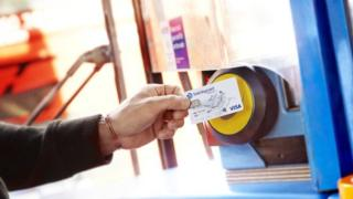 contactless card on bus