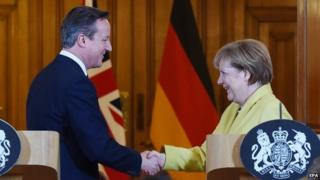 David Cameron and Angela Merkel holding talks last month