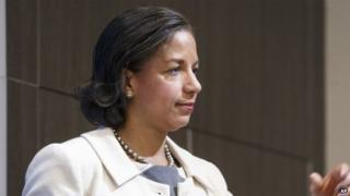 National Security Adviser Susan Rice arrives to speak at the Brookings Institution to outline President Barack Obama's foreign policy priorities, Friday, Feb. 6, 2015, in Washington
