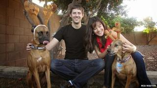 Mia Nguyen (right) with her dogs