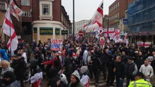 Up to 1,000 EDL members marched through Dudley in the West Midlands in protest over plans for a new mosque