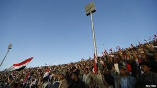 Houthi supporters rally at stadium in Sanaa