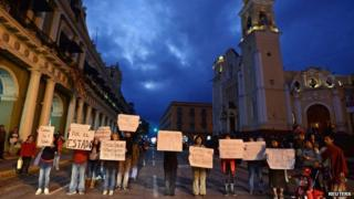 Journalists hold signs demanding the safe return of colleague Moises Sanchez during a protest in Xalapa. 08/01/2015
