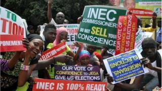 Protest against postponement of elections, Abuja, 8 February 2015