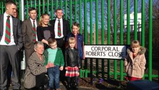 Family and friends of Cpl Andrew Roberts