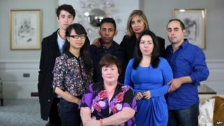 A portrait of Sydney siege survivors who shared their stories with the Australian commercial broadcaster Channel Nine (left to right) Jarrod Morton-Hoffman, Fiona Ma, Joel Herat, Louisa Hope, Selina Win Pe, Harriette Denny and Paolo Vassallo